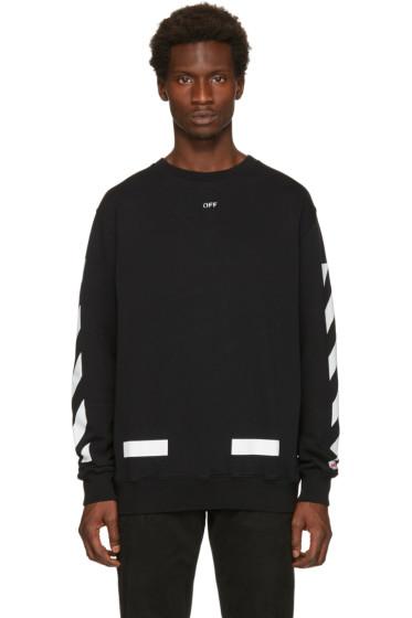 Off-White - Black Diagonal Arrows Crewneck Sweatshirt