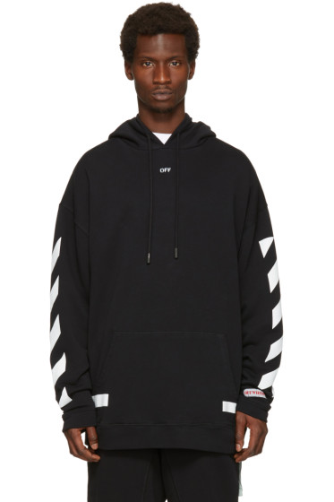 Off-White - Black Diagonal Arrows Over Hoodie
