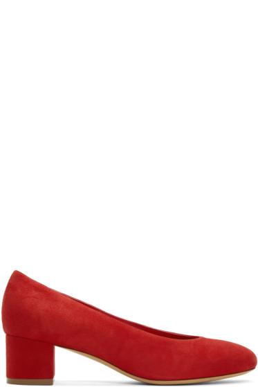 Mansur Gavriel - Red Suede Ballerina Pumps