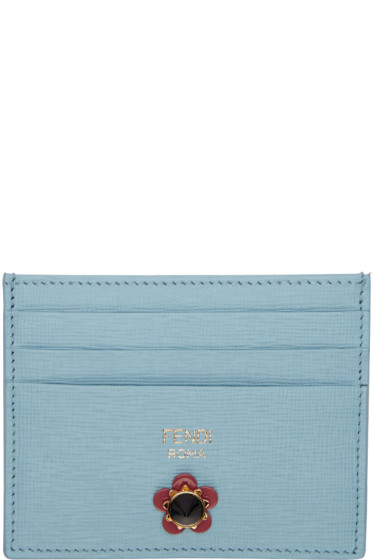 Fendi - Blue Flowerland Card Holder