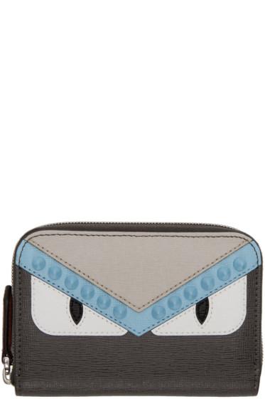 Fendi - Grey Mini 'Bag Bugs' Zip Around Wallet