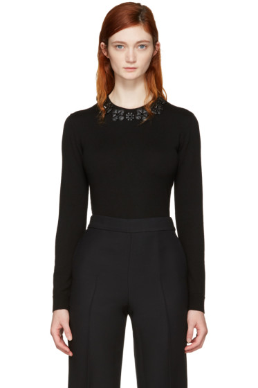 Fendi - Black Wool Flowers Pullover