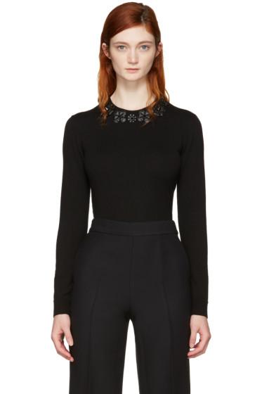 Fendi - Black Wool Flowers Pullover