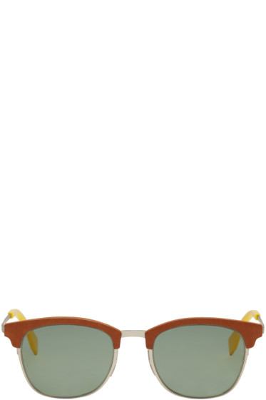 Fendi - Brown & Silver Qbic Sunglasses