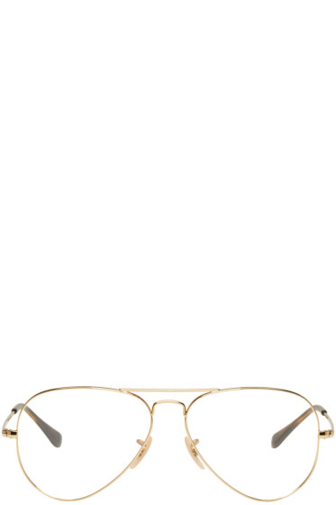 Ray-Ban - Gold Aviator Glasses