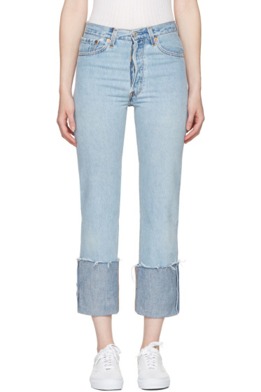 Re/Done - Blue High-Rise Straight Cuffed Jeans
