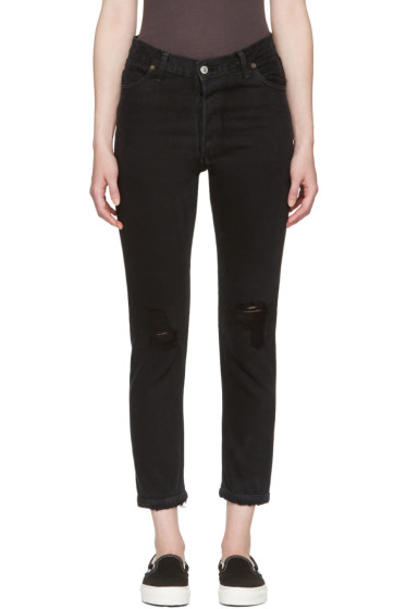 Re/Done - Black High-Rise Ankle Crop Destruction Jeans