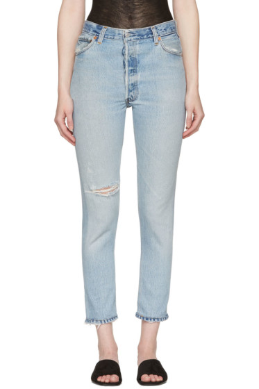 Re/Done - Blue High-Rise Ankle Crop Destruction Jeans