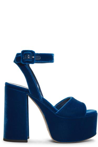 Miu Miu - Blue Velvet Platform Sandals