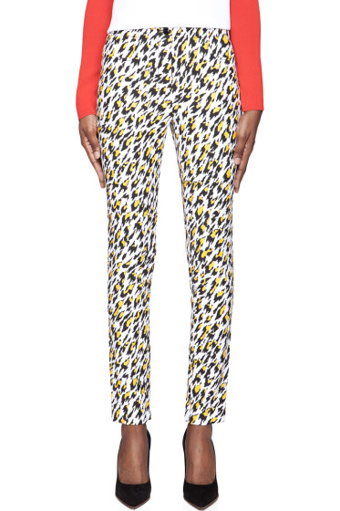 Mugler - White Leopard Print Applique Trousers