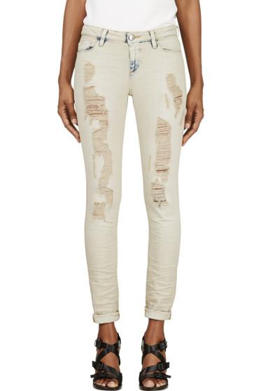 Iro - Light Beige Shredded Nash Jeans