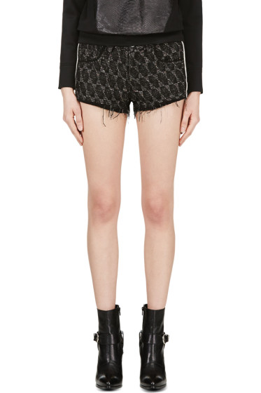 Iro - Black Suede-Trimmed Red Seth Shorts