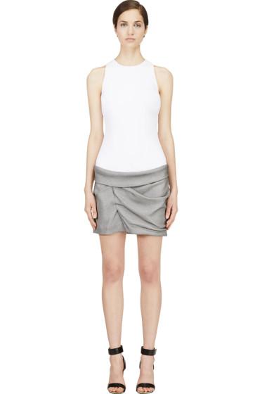 Mugler - White & Grey Contrasting Gathered Dress