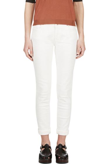 Avelon - Ivory Painted Stripe Neon Jeans