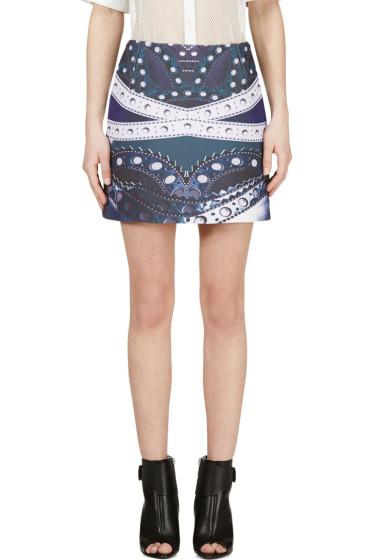 Mary Katrantzou - Blue Maroon Printed Kal Skirt