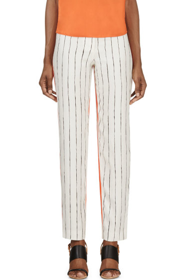 Cédric Charlier - Orange & Ivory Printed Silk Twill Trousers