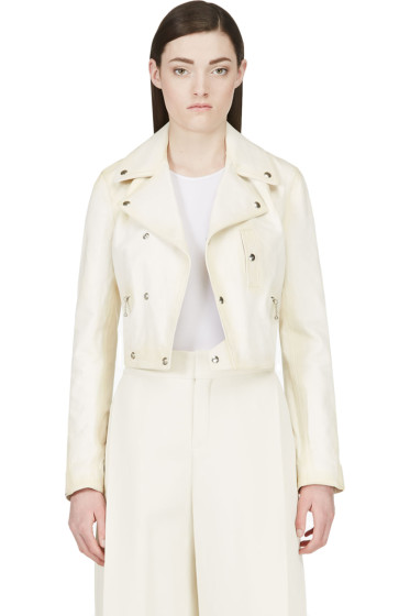 Yang Li - Cream Leather Biker Jacket