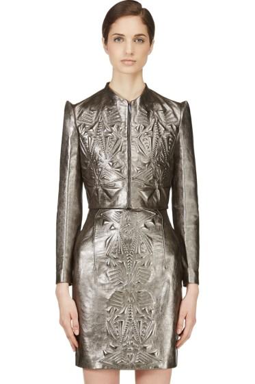 Iris van Herpen - Pewter Cropped Embossed Leather Jacket