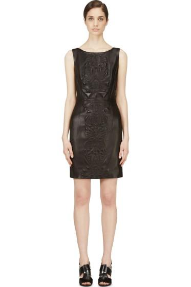 Iris van Herpen - Black Embossed Leather Dress