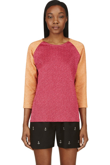 Roseanna - Fuchsia & Orange Colorblocked Sparkle Top