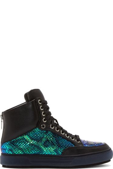 Alejandro Ingelmo - Black & Iridescent Leather Jeddi High Top Sneakers