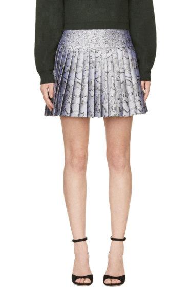 Mary Katrantzou - Silver Jacquard Cookie Print Pleated Skirt