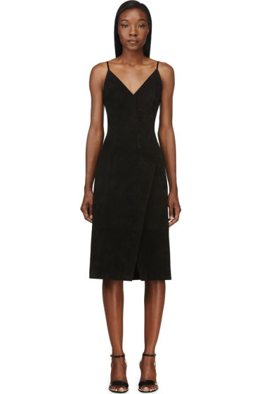 Maiyet - Black Suede Pieced Slip Dress