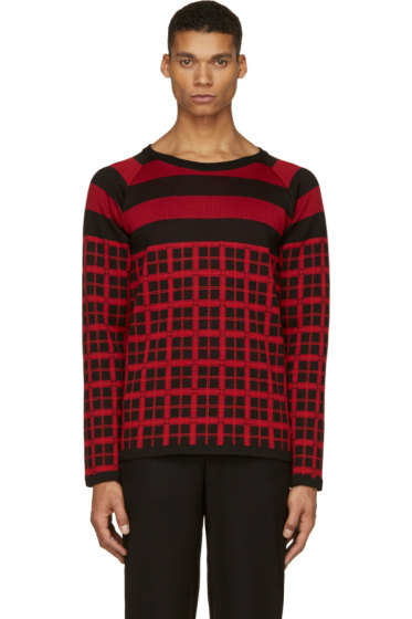 Christian Dada - Black & Red Check Knit Shirt