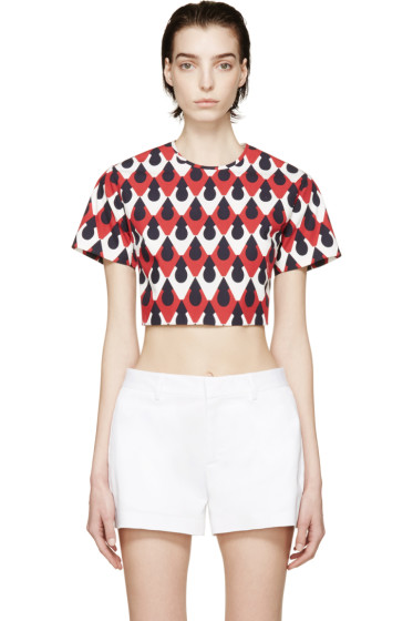 Dsquared2 - Red & Navy Printed Crop Top
