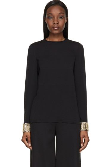 Dsquared2 - Black Embellished Cuff Silk Blouse