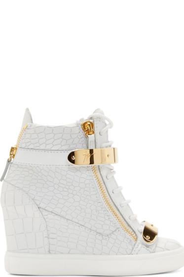 Giuseppe Zanotti - White Croc-Embossed Wedge Sneakers