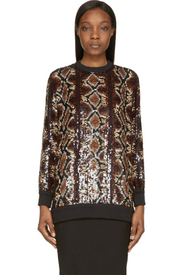 Givenchy - Brown Sequinned Python Sweatshirt