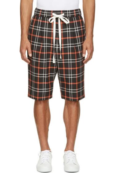 3.1 Phillip Lim - Orange & Black Plaid Quilted Shorts