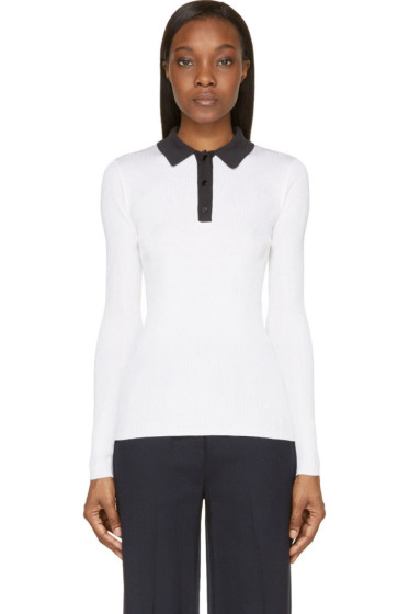 Proenza Schouler - White Silk Contrast Collar Long Sleeve Polo