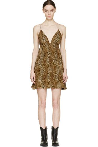 Saint Laurent - Brown & Black Silk Leopard Print Dress