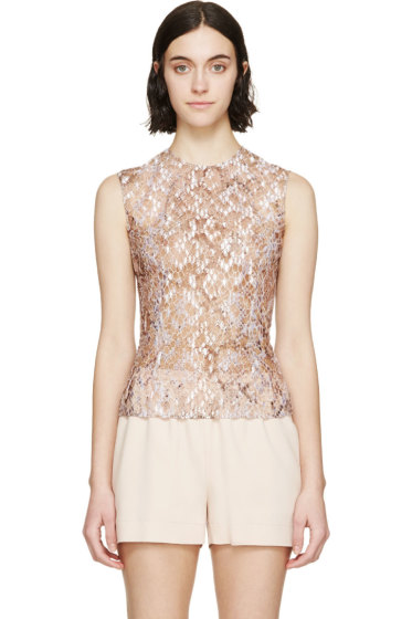 Mary Katrantzou - Nude Embroidered Sheer Tulle Top