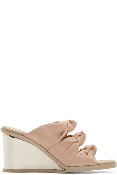 Stella McCartney - Pink Knotted Wedge Sandals