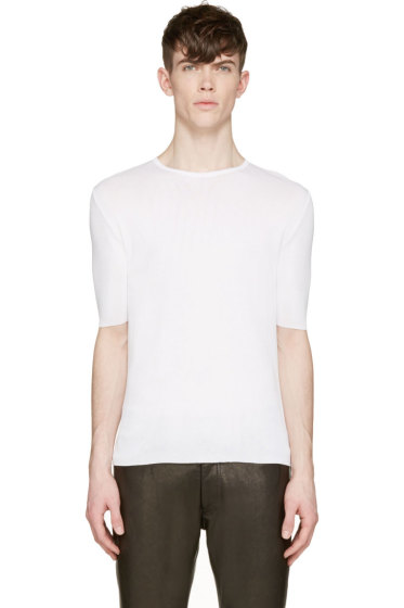 Costume National - Off-White Stretch Knit T-Shirt