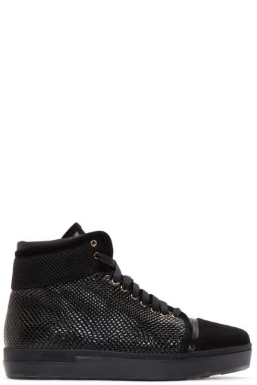Jimmy Choo - Black Patchwork Bronx High-Top Sneakers