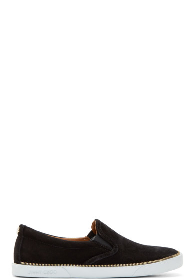 Jimmy Choo - Black Suede Zip Trim Sneakers