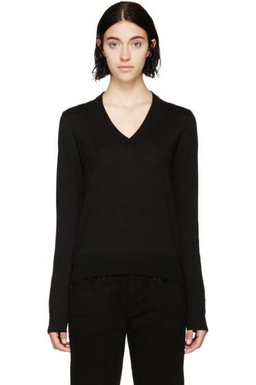 Maison Margiela - Black Mesh Panelled Sweater