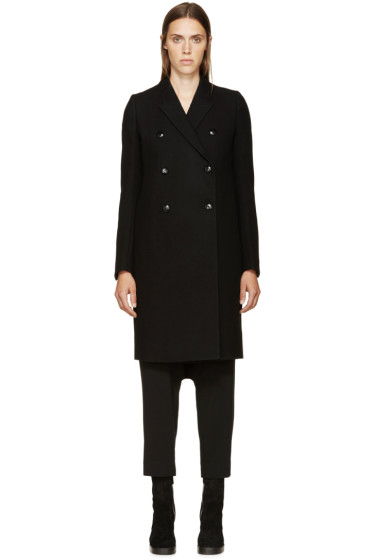 Rick Owens - Black Wool Double-Breasted Coat