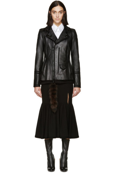 Givenchy - Black Leather Raccoon Tail Jacket