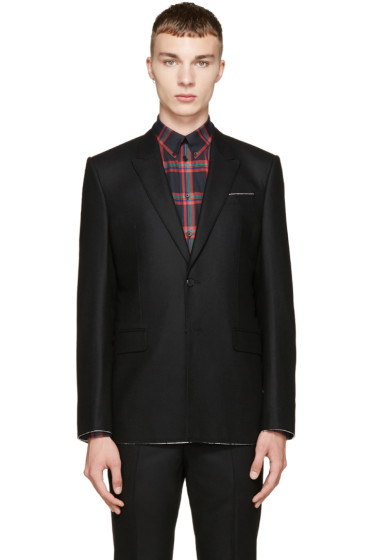 Givenchy - Black Raw Flannel Blazer