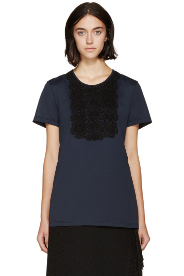 Burberry Prorsum - Navy Lace Appliqué T-Shirt