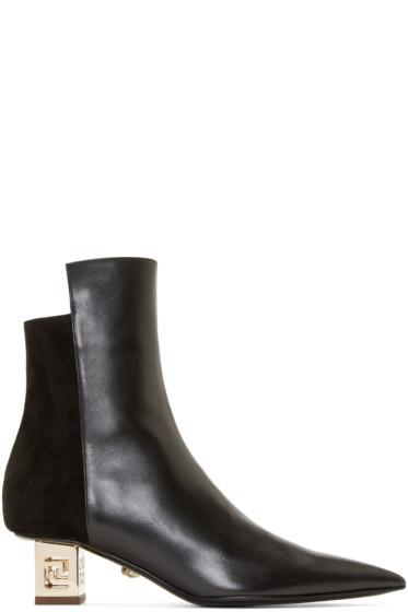 Versace - Black & Gold Cut-Out Heel Boots