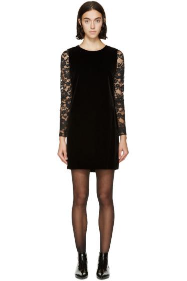 Saint Laurent - Black Velvet Lace Sleeve Dress