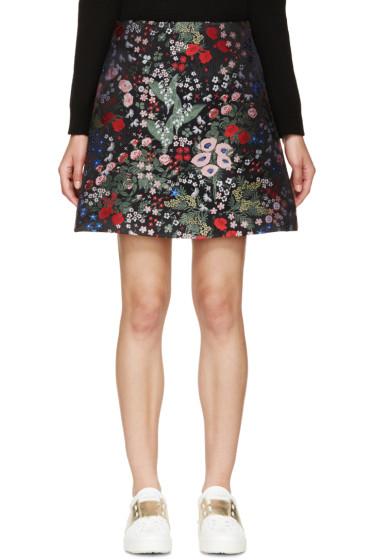 Valentino - Black Embroidered Floral Print Skirt