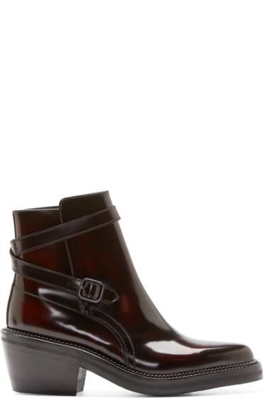 Yang Li - Burgundy Leather Ankle Boots