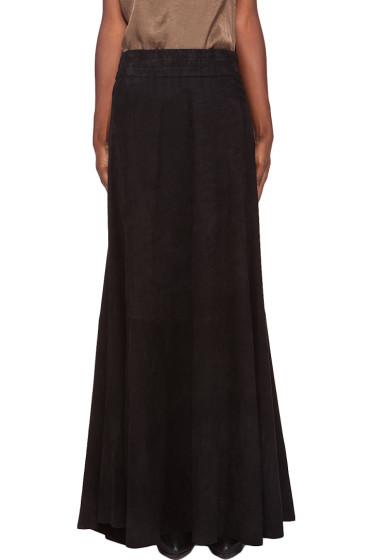 Balmain - Black Suede Maxi Skirt